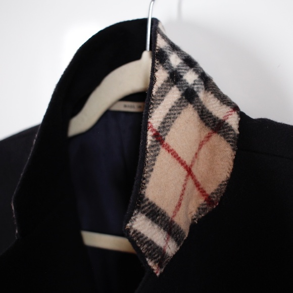 Burberry Black Wool Overcoat Check Collar Size 40R